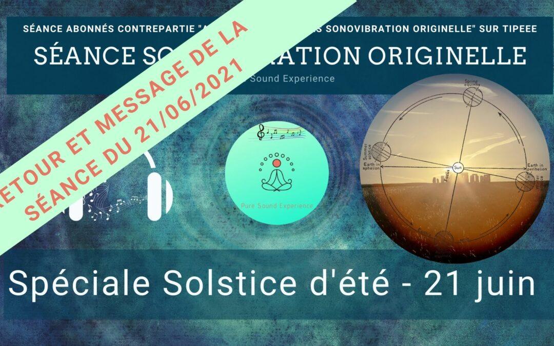 Retour et message reçu lors de la séance SonoVibration Originelle du 21/06/2021