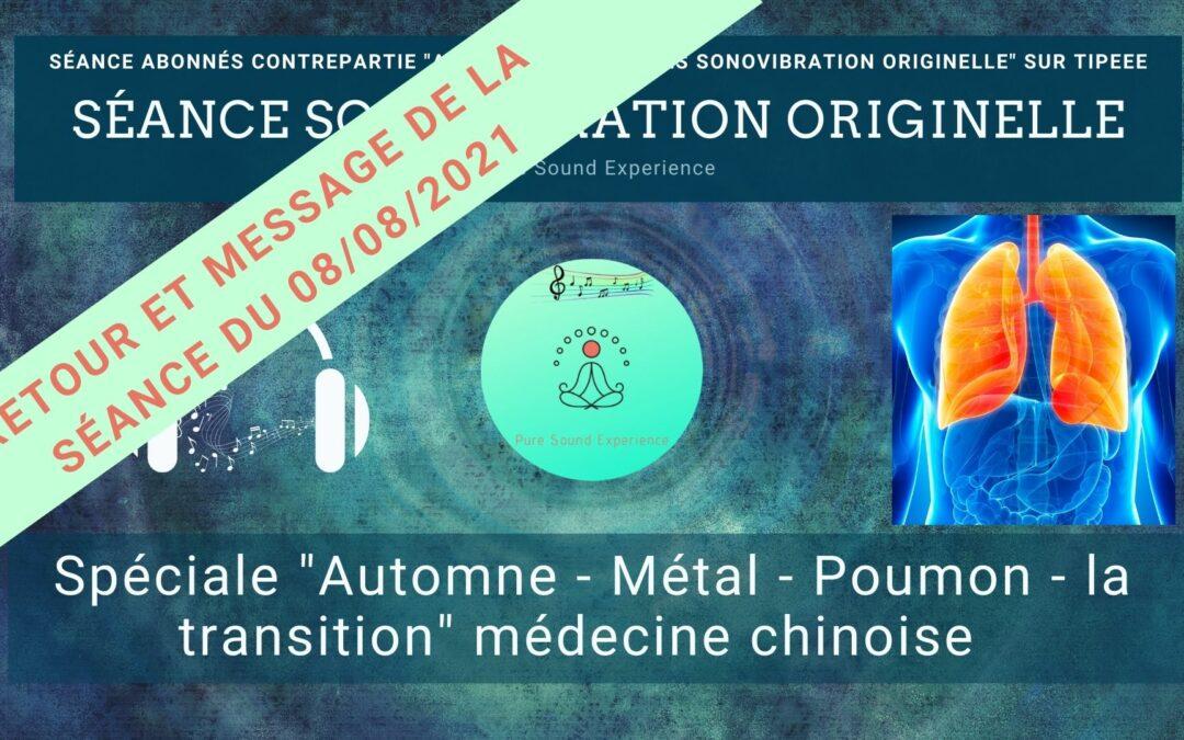 Retour et message reçu lors de la séance SonoVibration Originelle spéciale «poumons» du 08/08/2021
